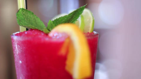 Red Cocktail Without Alcohol stock footage