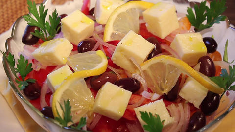 Tomato salad with Feta Footage