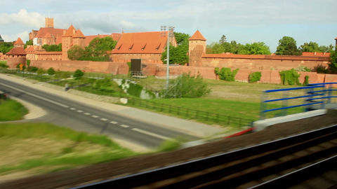 Train Window View Of The Medieval Castle stock footage