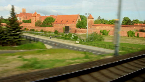 Train Window View Of The Medieval Castle - Slow Motion stock footage
