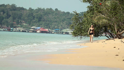 girl on the beach Stock Video Footage
