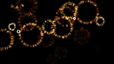 golden fireworks shaped fire round at sky Stock Video Footage