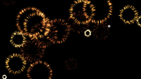 golden fireworks shaped fire round at sky Animation