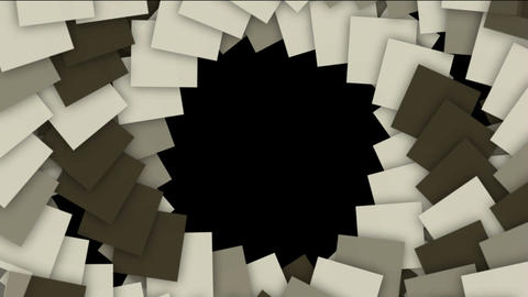 spiral stairway and rotation square paper cards tunnel hole,computer tech web background Animation