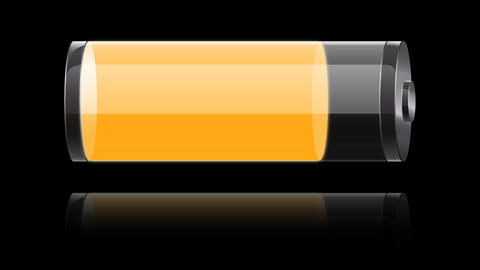 glass orange battery charging Animation