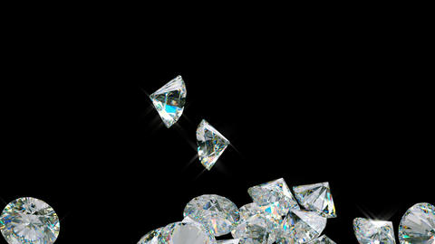 Large diamonds falling with slow motion. Alpha is included Stock Video Footage
