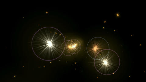 fly fire stars halo and UFO in space Animation
