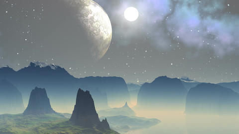 Major planet and the moon in the sky of a fantastic planet Stock Video Footage