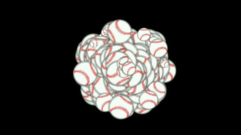 rolling softball and baseball array Stock Video Footage