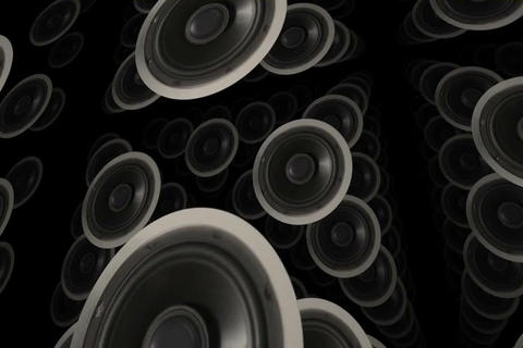 Multiple Sound Speakers with Rotation Stock Video Footage