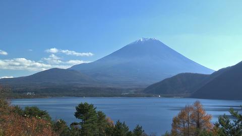 Autumn Landscape in Fuji Mountain and Motosu... Stock Video Footage