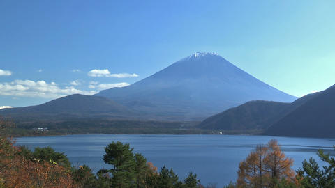 Autumn Landscape in Fuji Mountain and Motosu... Stock Video Footage