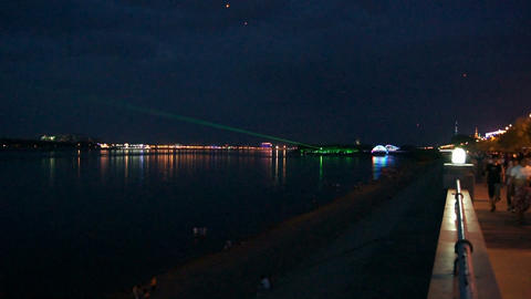 Evening Laser Show on The Amur River Stock Video Footage