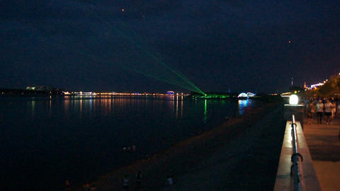 Evening Laser Show on The Amur River Live Action