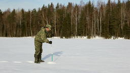 Ice Fishing, Boring Stock Video Footage