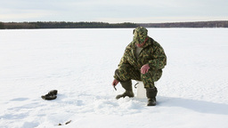Ice Fishing Success Stock Video Footage