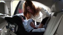 Baby in Carseat Stock Video Footage