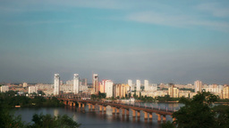 Bridge Across the Dnieper Stock Video Footage