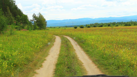 Country road in the fields. Shot through car winds Stock Video Footage