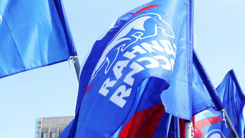 Flags of United Russia political party during the Stock Video Footage