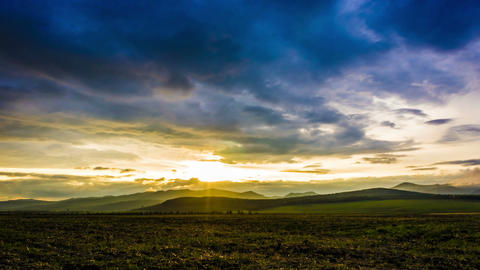 Beautiful timelapse of sunset in countryside Stock Video Footage