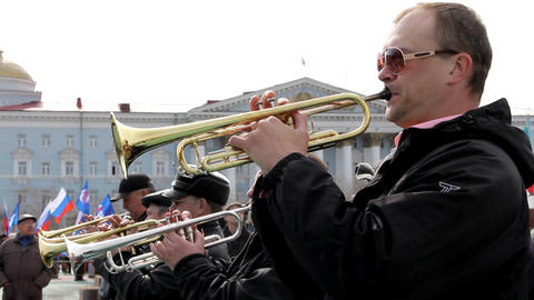 City brass band plays in the square Stock Video Footage