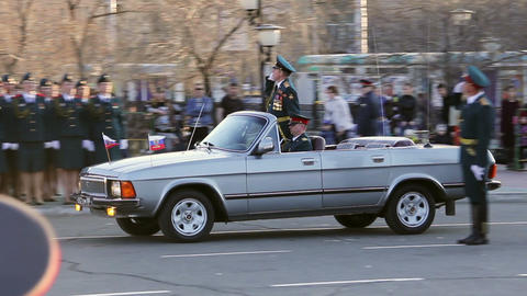 Commander of the parade in car Stock Video Footage