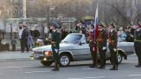 Commander Of The Parade In Car stock footage