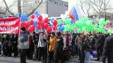 People During The May Day Trade Union Demonstratio stock footage