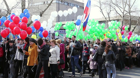People during the May Day Trade Union demonstratio Stock Video Footage