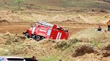 Firetruck on rally cross track in russian province Footage