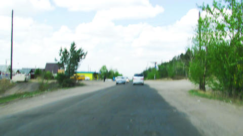 Russian province road timelpase windshield shot Stock Video Footage