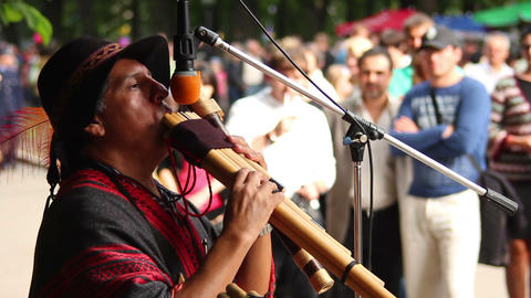 Man plays the Native American instruments 3 Stock Video Footage