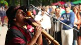 Man plays the Native American instruments 3 Footage