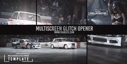 Multiscreen Glitch Opener/Reel stock footage