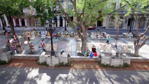 Artists selling art at the Paseo de Marti, in La Habana Cuba Live Action