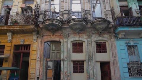 Old vintage dilapidated buildings in La Habana, Cuba Footage