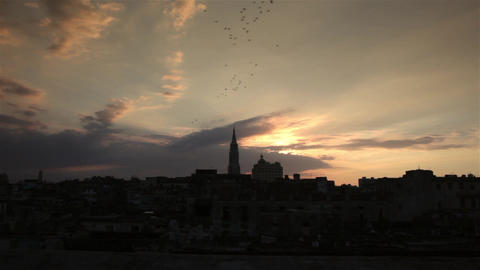 La havana city scape with the cathedral tower and rooftops at sunset with birds Footage