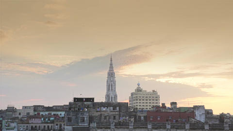 La Havana City Scape With The Cathedral Tower And Rooftops At Sunset Close Up stock footage