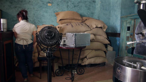 Coffe Shop Interior In La Habana Vieja, Plaza Vieja, Cuba stock footage