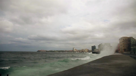 Tropical storm from the Malecon in La havana, Cuba Live Action