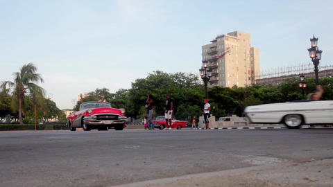 Vintage Cars in convoy in La Havana Cuba Footage
