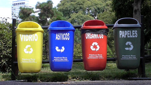 Recycling Baskets in the street. Recycle trash Live Action
