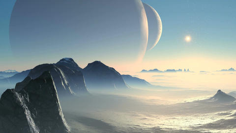 Two Moon And Alien Planet stock footage