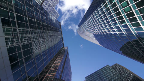Between the skyscrapers, look up, timelapse Footage