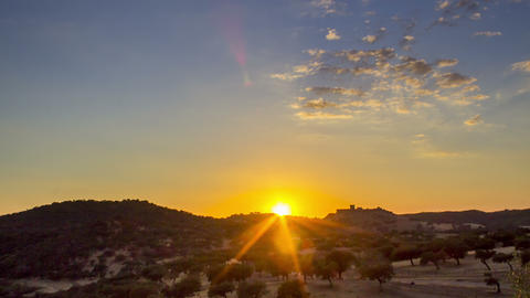 4k Timelapse Sunset Countryside Landscape Scenic View Of Medieval Noudar Castle stock footage