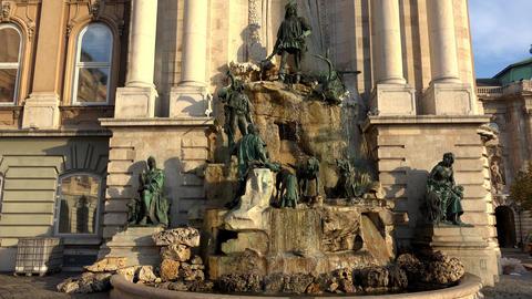 Buda castle Matthias fountain. 4K Footage