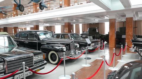 Soviet Vintage Staged Cars. Pyshma, Ekaterinburg, Russia. 4K stock footage