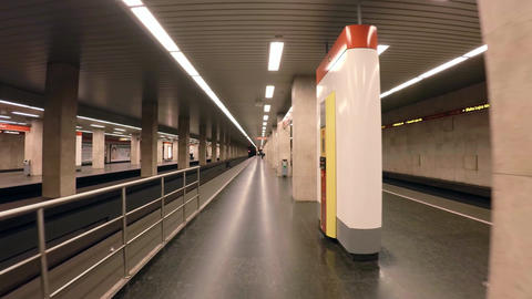 Metro In Budapest. The Train In The Subway. 4K stock footage