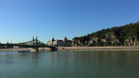 Bridge on the River Danube in Budapest. 4K Footage
